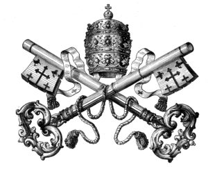 BJW4FD heraldry, emblems, Vatican, tiara and key as symbol of the pope, wood engraving, 19th century, historic, historical, crown, catholic church, coat of arms, clipping, cut out, cut-out, cut-outs,. Image shot 1800. Exact date unknown.